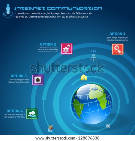 easy to edit communication icon around Earth - stock vector