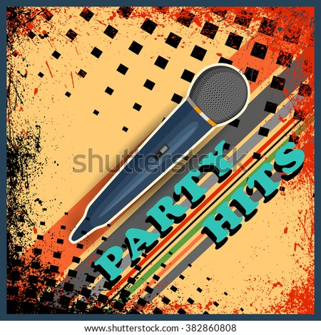 easy to edit illustration of abstract music background with microphone - stock vector