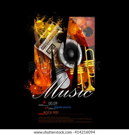 easy to edit vector illustration of abstract music background with instrunment - stock vector