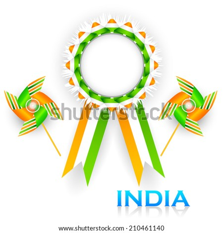 easy to edit vector illustration of badge for India tricolor flag - stock vector