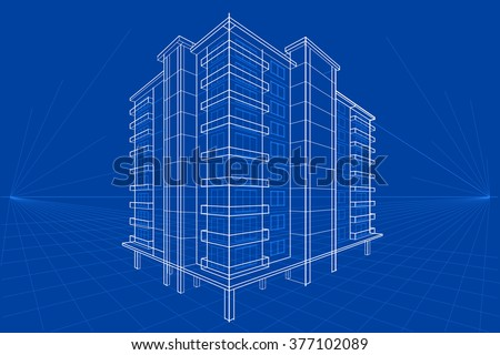 Easy edit vector illustration blueprint building stock vector easy to edit vector illustration of blueprint of building malvernweather Choice Image