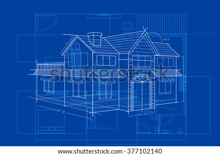 Easy edit vector illustration blueprint building vectores en stock easy to edit vector illustration of blueprint of building malvernweather Choice Image