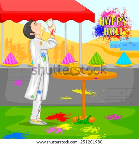 easy to edit vector illustration of boy drinking bhang thandai in Holi - stock vector