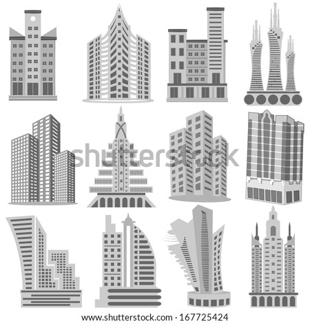 easy to edit vector illustration of Building and Skyscraper - stock vector