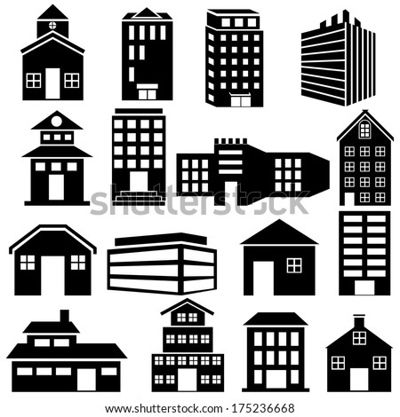 easy to edit vector illustration of Building and Skyscraper icon - stock vector