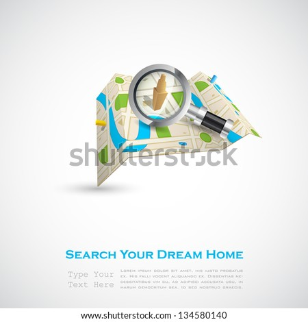 easy to edit vector illustration of building on map with magnifying lens - stock vector