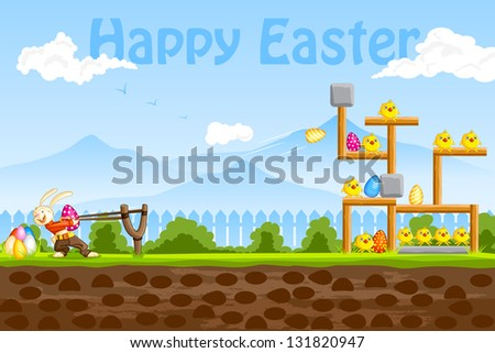 easy to edit vector illustration of bunny playing with Easter egg