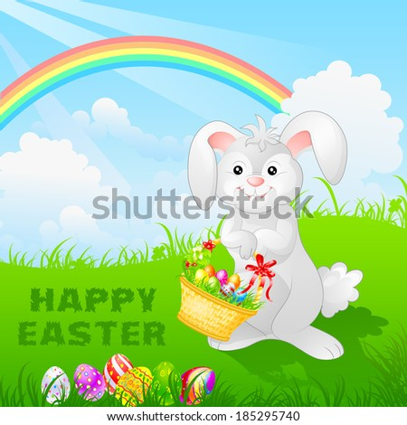 easy to edit vector illustration of bunny with Easter egg - stock vector