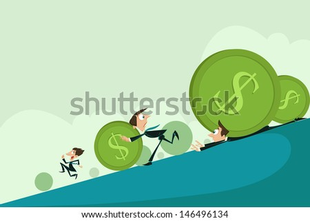 easy to edit vector illustration of business men escaping from falling dollar recession - stock vector