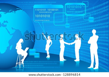 easy to edit vector illustration of business people in binary technology background - stock vector