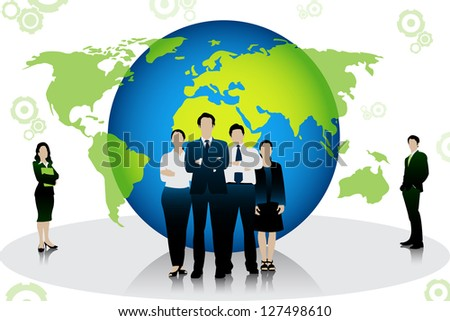 easy to edit vector illustration of business people standing in front of globe