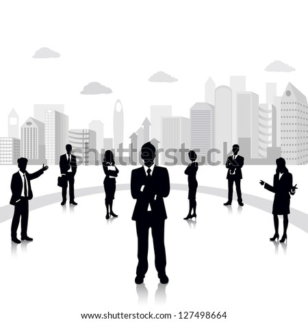 easy to edit vector illustration of business people standing on background with office building - stock vector