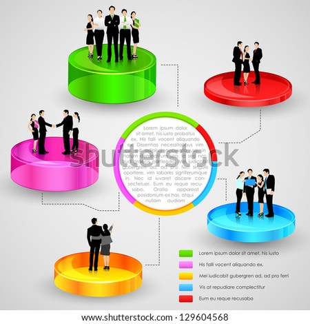 easy to edit vector illustration of business people standing over business graph - stock vector