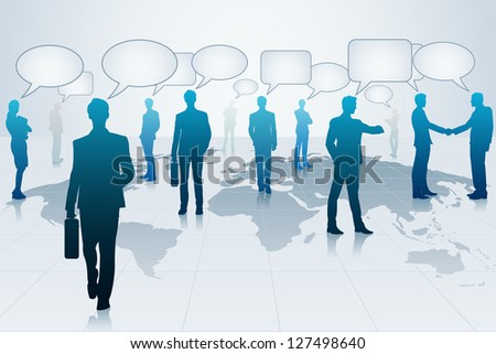 easy to edit vector illustration of business people with chat bubble - stock vector