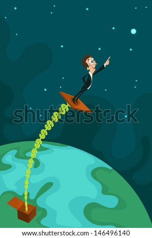 easy to edit vector illustration of businessman coming out from Jack in the Box - stock vector