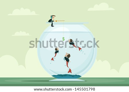 easy to edit vector illustration of businessman fishing manpower - stock vector