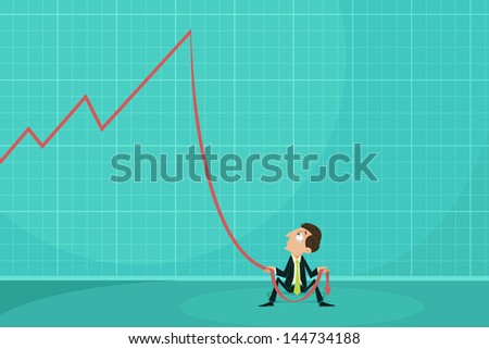 easy to edit vector illustration of businessman holding loss arrow showing financial crisis - stock vector