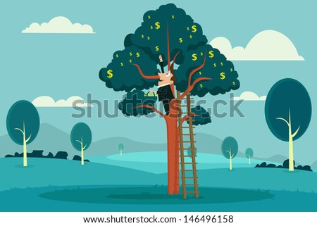easy to edit vector illustration of businessman plucking dollar from tree - stock vector