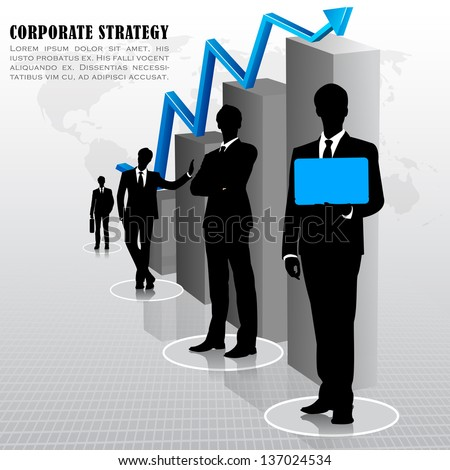 easy to edit vector illustration of businessman standing with bar graph - stock vector