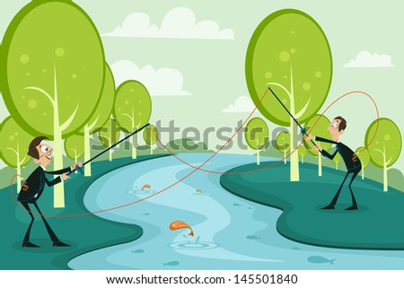 easy to edit vector illustration of businessmen fishing competitor's business - stock vector