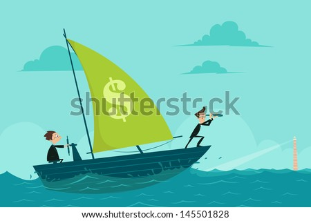 easy to edit vector illustration of businessmen on boat watching through telescope - stock vector