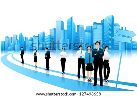 easy to edit vector illustration of businesspeople with skyscraper building on backdrop - stock vector