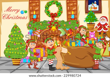 easy to edit vector illustration of Christmas celebration with Santa - stock vector