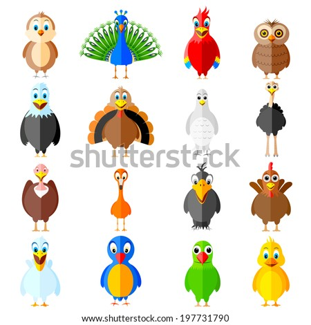 easy to edit vector illustration of collection of colorful birds - stock vector