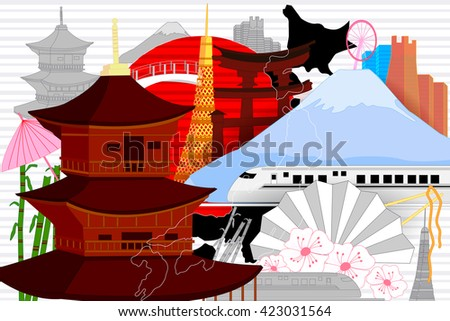 easy to edit vector illustration of colorful collage of Japan - stock vector