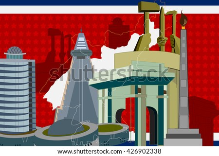 easy to edit vector illustration of colorful collage of North Korea