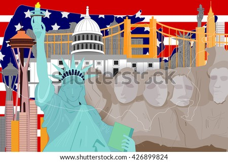 easy to edit vector illustration of colorful collage of United States of America