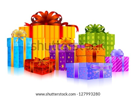 easy to edit vector illustration of colorful gift - stock vector