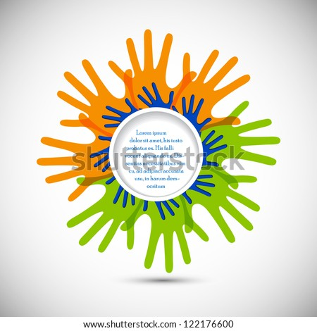 easy to edit vector illustration of colorful hand of Indian citizen forming flag - stock vector