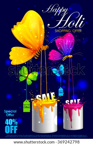 easy to edit vector illustration of colorful Holi shopping sale background - stock vector