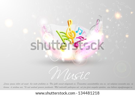 easy to edit vector illustration of colorful music design for background - stock vector