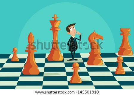 easy to edit vector illustration of confused businessman on chessboard - stock vector