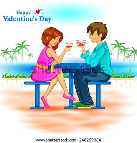 easy to edit vector illustration of couple sitting with wine glass - stock vector