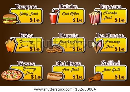 easy to edit vector illustration of coupon for fast food - stock vector