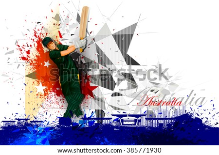 easy to edit vector illustration of cricket player from Australia - stock vector