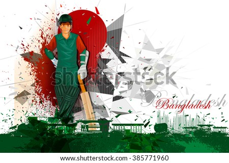 easy to edit vector illustration of cricket player from Bangladesh - stock vector