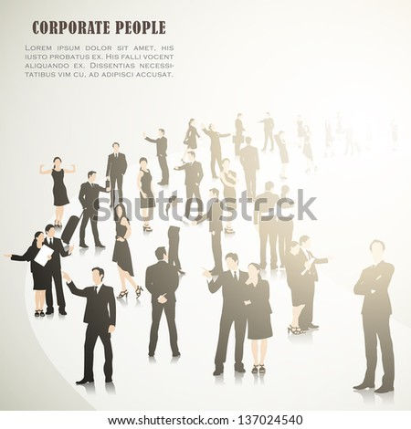 easy to edit vector illustration of crowd of businesspeople - stock vector