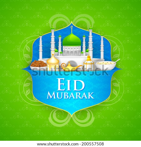 easy to edit vector illustration of decorated mosque on Eid Mubarak (Happy Eid) - stock vector
