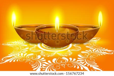 easy to edit vector illustration of diya on rangoli for Diwali - stock vector