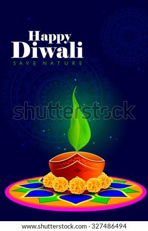 easy to edit vector illustration of diya on rangoli for safe Happy Diwali background - stock vector