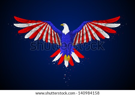 easy to edit vector illustration of eagle with American flag for Independence day - stock vector