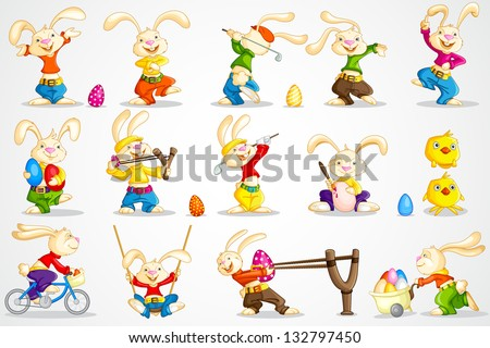 easy to edit vector illustration of Easter bunny in different pose - stock vector