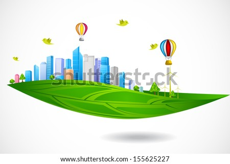easy to edit vector illustration of eco friendly city