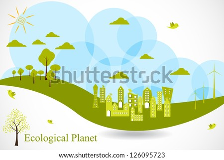easy to edit vector illustration of ecofriendly city