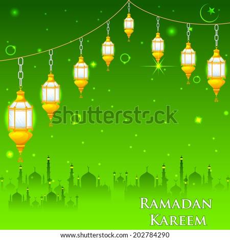 easy to edit vector illustration of Eid Mubarak (Happy Eid) background - stock vector
