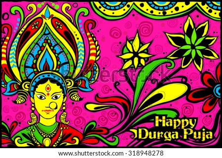easy to edit vector illustration of face of Goddess Durga for Happy Dussehra Indian art style background - stock vector